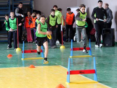 unidentified children on IAAF Kid's Athletics competition on February 10, 2012 in Donetsk, Ukraine