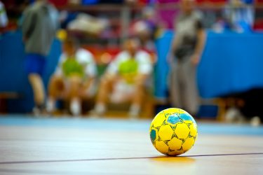 indoor football or soccer ball at floor